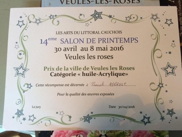 """Prix de la ville de Veules les Roses, catégorie """"Huile - Acrylique"""" remis à Pascale Ayrault"""